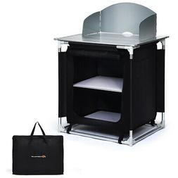 Portable BBQ Aluminum Camping Table Kitchen Cook Station w/