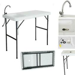 Portable Camping Folding Fish Cutting Table Sink Faucet Dura