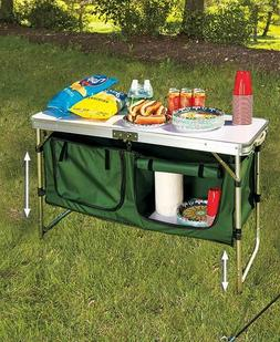 Portable Camping Kitchen Table with Storage Outdoor Furnitur