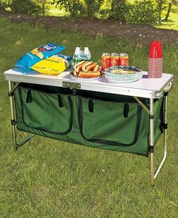 PORTABLE CAMPING KITCHEN TABLE`WITH TWO LARGE ZIPPERED STORA