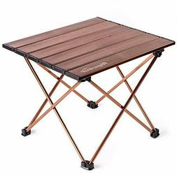 portable compact folding side camping table in