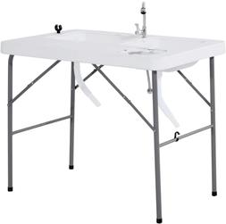 Portable Fish Cleaning Table with Sink Faucet Foldable good