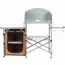 Camping Table Portable Kitchen Folding BBQ Grill Stand Enclo