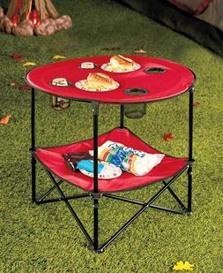RED Portable Folding Picnic Table With Drink Holders, Shelf,