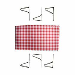 """Stansport Red White Checked Tablecloth 54"""" X 72"""" Plus 6 Clam"""