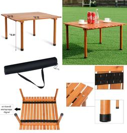 Roll Up Folding Wood Camping Table Outdoor Indoor Water-Resi