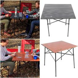 Small Portable Roll-Top Camping Table Folding Picnic Outdoor
