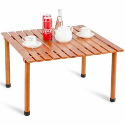Wood Roll-Up Table Folding Camping Table Outdoor Indoor Picn