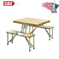 Wooden 4 seats Camping Picnic Table Bench Seat Outdoor Porta